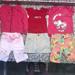 🌺 3/$25 12M 6 piece bundle (tops and bottoms)